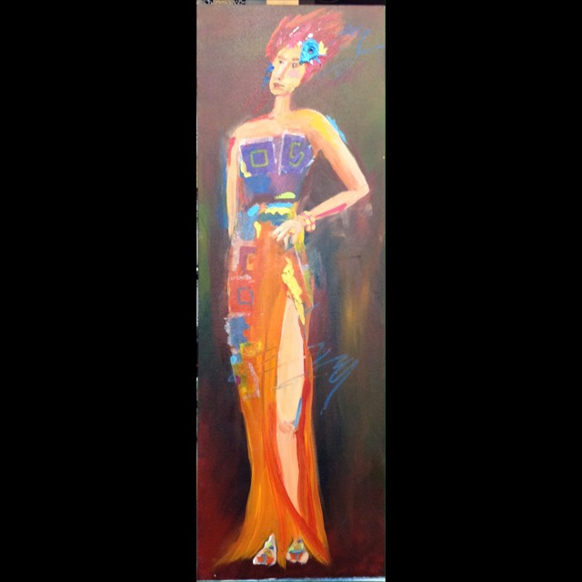 'A Touch of Blue' by Coni Spencer - Acrylic 30x10
