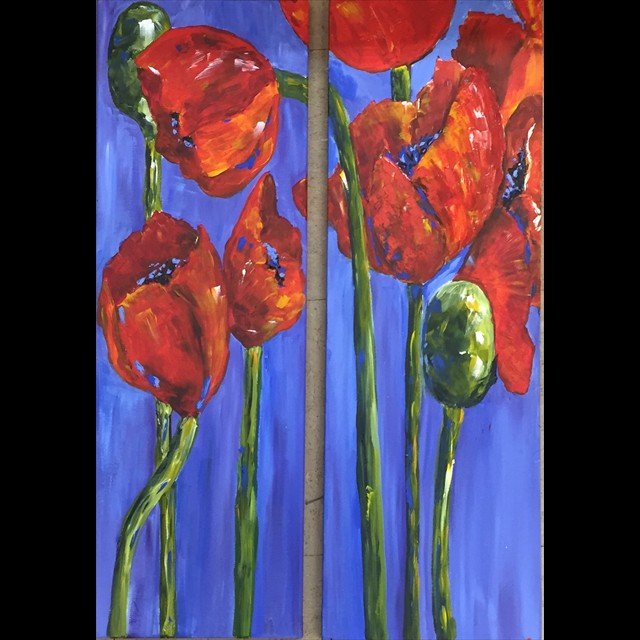 'Poppy Panels' by Coni Spencer - Acrylic  2 panels 30x10 each