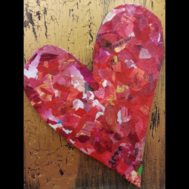 'Heart' by Allison Dyer - Collage in relief 14x11