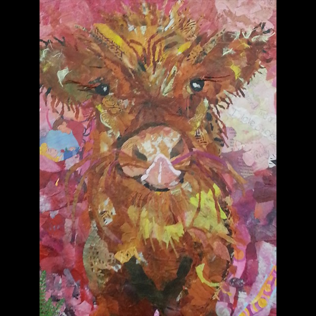 'Pink Moo' by Allison Dyer - Collage 20x16
